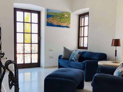 Villa Camelia in Spetses Greece, living room, by Olive Villa Rentals