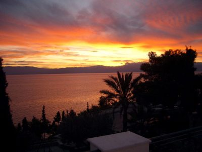 Villa Camelia in Spetses Greece, sunset, by Olive Villa Rentals