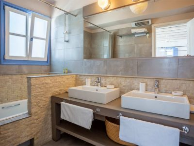 Villa Kastalia in Spetses Greece, bathroom, by Olive Villa Rentals