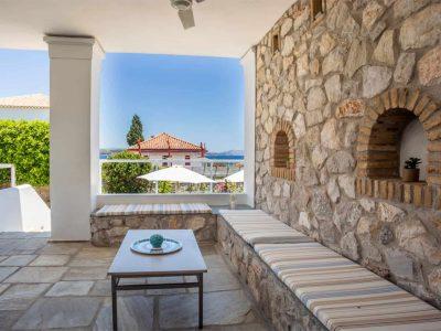 Villa Kastalia in Spetses Greece, terrace view, by Olive Villa Rentals