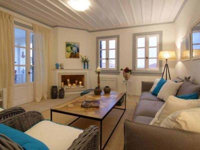 Villa Matilda in Spetses Greece, living room, by Olive Villa Rentals