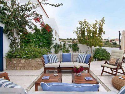 Villa Matilda in Spetses Greece, couch, by Olive Villa Rentals