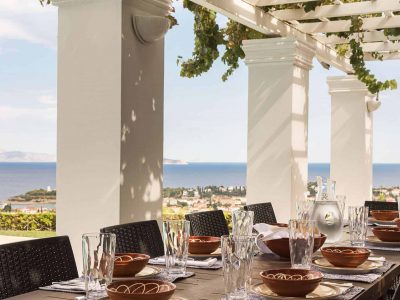 Villa Pegasus in Spetses Greece, dining table, by Olive Villa Rentals