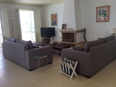 Villa Pitys in Spetses Greece, living room, by Olive Villa Rentals