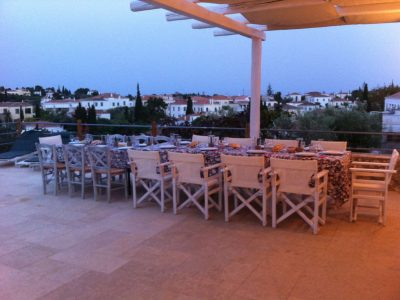 Villa Pitys in Spetses Greece, table, by Olive Villa Rentals