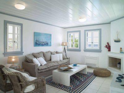 Villa Spezie in Spetses Greece, living room, by Olive Villa Rentals