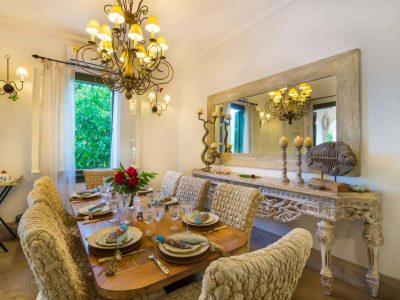 Villa Veneta in Spetses Greece, dining room, by Olive Villa Rentals