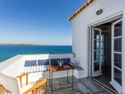 Villa Zenais in Spetses Greece, balcony, by Olive Villa Rentals