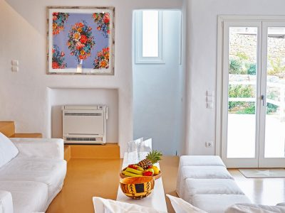 Villa Leticia in Mykonos Greece, living room 2, by Olive Villa Rentals
