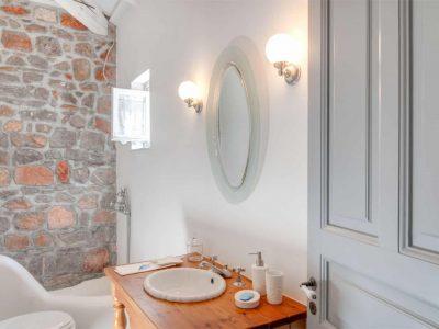 Villa Begonia in Hydra Greece, bathroom, by Olive Villa Rentals